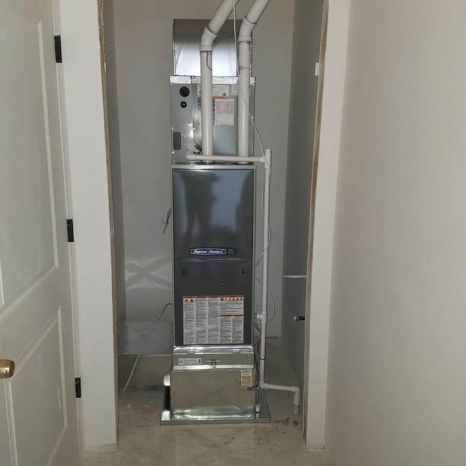 A new furnace installation in Lincoln by Bill's Heating & Air Conditioning.
